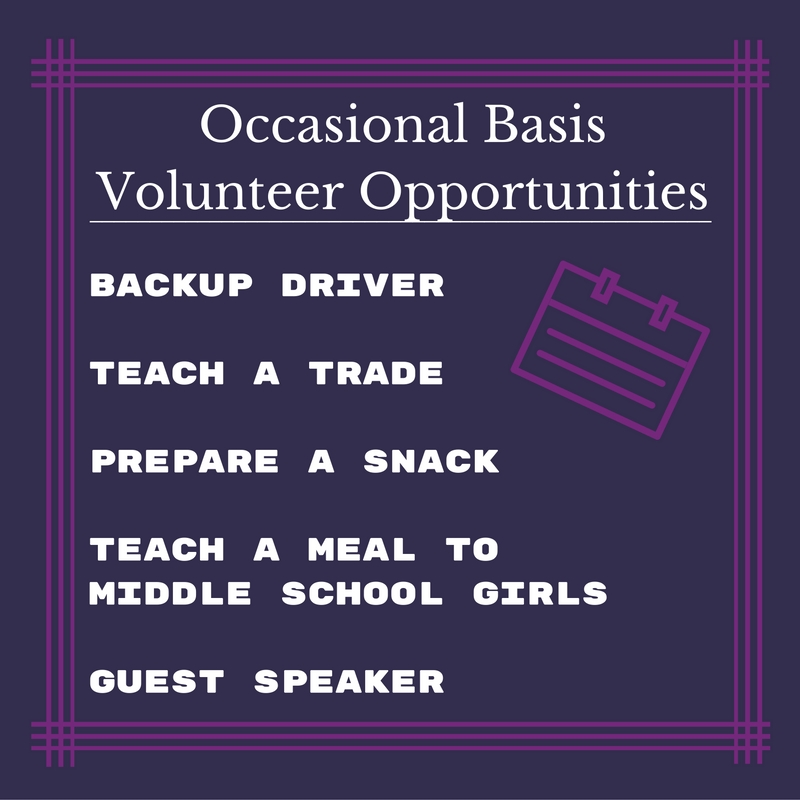 Occasional Basis Volunteer Opportunities