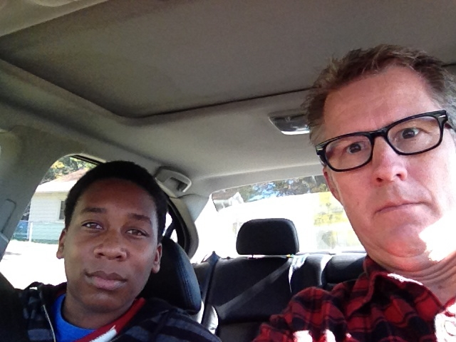 """Steve and Travis going on an adventure, with """"game faces"""""""