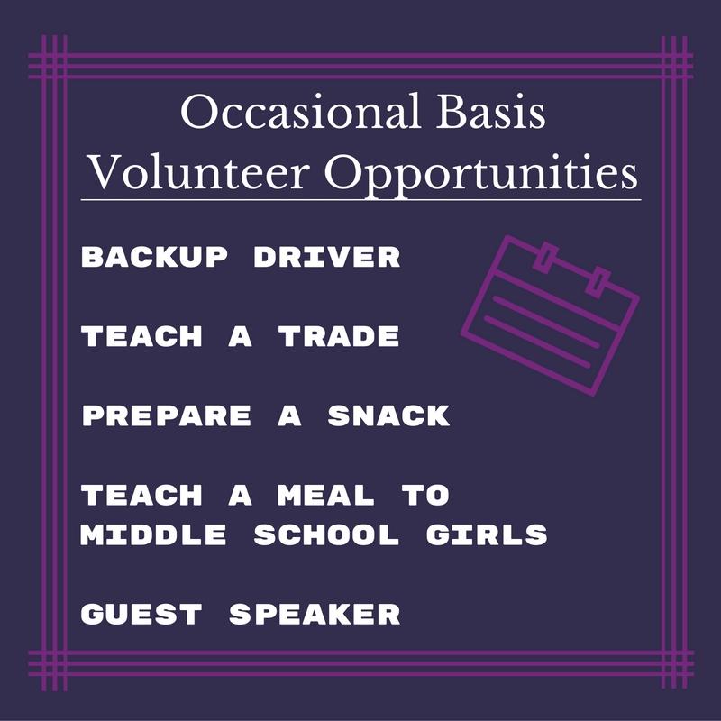 Occasional Basis Volunteer Opportunities
